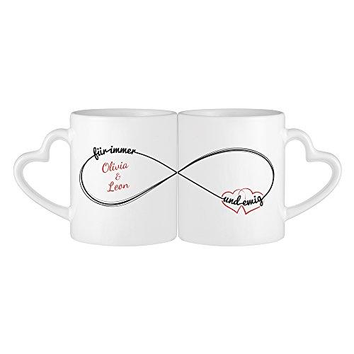 Tassenwerk – 2er Set Tasse – Herzhenkeltasse mit Spruch – Unendlichkeitszeichen – Personalisiert mit Namen – Geschenkidee zum Valentinstag und Geburtstag – Geschenk für Pärchen