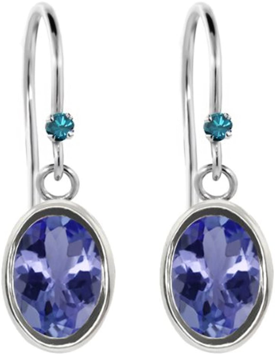 1.52 Ct Oval bluee Tanzanite bluee Diamond 925 Sterling Silver Earrings