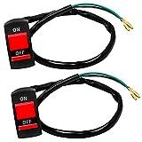 GIAK Interruptor Moto Luces Antiniebla Moto Manillar Interruptor 2 Pcs Peligro luz ON OFF Interruptor Para Faros Delanteros Focos Ddicionales de 12V del Manillar Ø22
