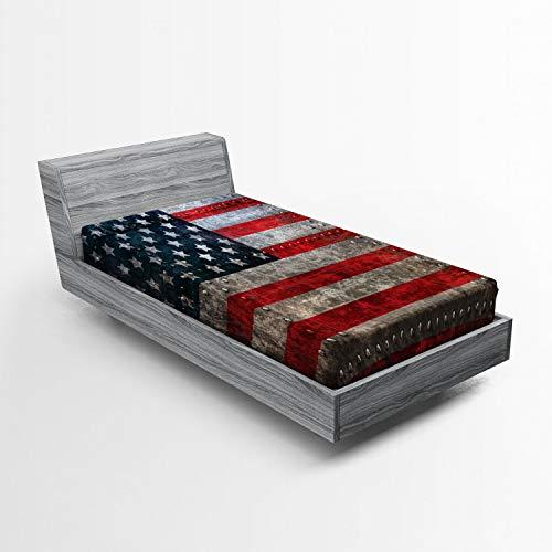 ABAKUHAUS Amerikanische Flagge Spannbetttuch, US-Flaggen-Platte, Soft Dekorativer Stoff Bettwäsche R&-um Elastischer Gummizug, 90 x 200 cm, rot Grau