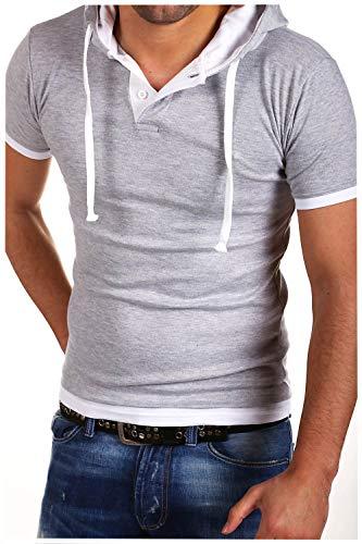 MT Styles 2in1 contrasté T-Shirt avec capuche BS-678-92 [gris, M]