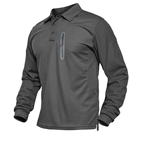TACVASEN Motorrad Shirts Langarm Militär Golf-Poloshirts Hemden Walking Tennis Polo für Herren mit Reissverschluss, Grau