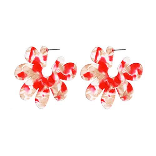 CandyTT Nuevos Pendientes de Resina de Flores Grandes Pendientes de Placa de Acetato acrílico para Mujer Pendientes de pétalos (Rojo)