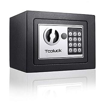 TOOLUCK Safe Box Digital Security Safe Fireproof Keypad Safe Lock Box with Keys Money Box and Deposit Box for Cash Gun Jewelry Home Office Hotel Storage Black