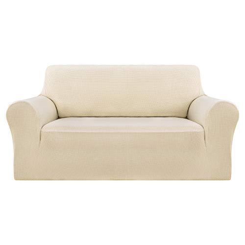 Deconovo Sofabezug Sofa Überzug Sofaüberwurf Sofa Cover Sesselbezug Sofahusse Sofa Abdeckung Super Elastisch Stretch Jacquard 145-175 cm Beige 2-Sitzer