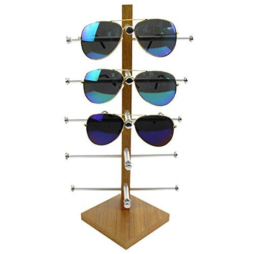 FOKOM Holz Brillenregal Brillenständer Brillenhalter Brillenablage Halter Sonnenbrillenständer Brillen Organizer Brillen Display für 5 Brillen Lesebrillen Sonnenbrillen