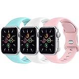 FUUI Correa Compatible con Apple Watch 38mm 42mm 40mm 44mm, Pulseras de Repuesto de Silicona Suave para iWatch Series 6 5 4 3 2 1 SE, Mujer y Hombre(3 Pack)(38mm/40mm M/L, Azul Claro/Blanco/Rosa)