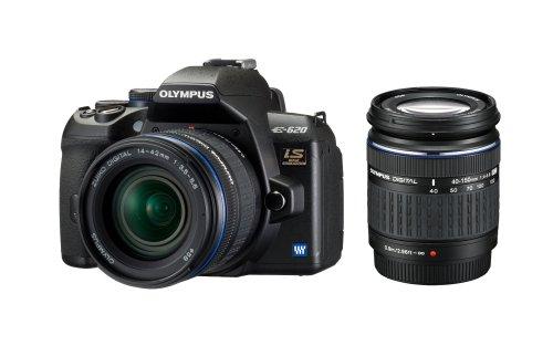 Olympus E-620 SLR-Digitalkamera (12 Megapixel, Bildstabilisator, Live View, Art Filter) Kit inkl. Batteriegriff, 14-42mm & 40-150mm Objektive