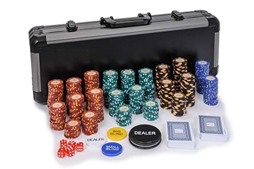 Riverboat Gaming Casino Royale Set de Poker - 14g fichas de póquer de 500 Piezas en Maleta (Extras Gratis)