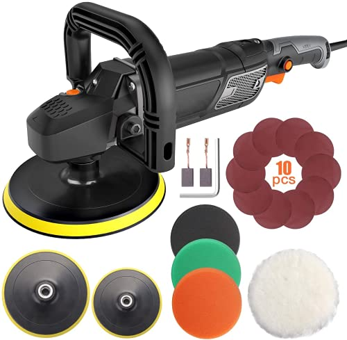 Buffer polisher, 12.5A 7-Inch/9-Inch Rotary Car Polisher,6 Variable Speed 600-3000RPM, LCD Display,Car Buffer Polisher with D & Side Handle,4 Foam Pads for Car Polishing and Waxing-PPGJ01A