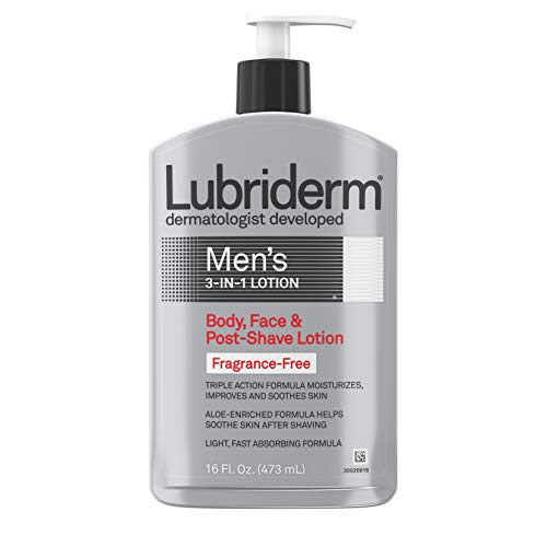 Lubriderm Men's 3-In-1 Unscented Lotion Enriched with Soothing Aloe for Body and Face, Non-Greasy Post Shave Moisturizer, Fragrance-Free, Basic, 16 Ounce, 16.0 Fl Oz