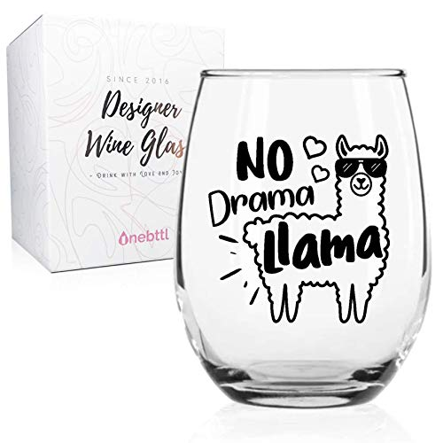 Onebttl Lama Tasse - No Drama Lama - Lustiger Lama Weinglas - 530ml Perfekt für Geburtstag, Weihnachten, Thanksgiving, Lama Geschenk für Männer Frauen im Büro zu Hause