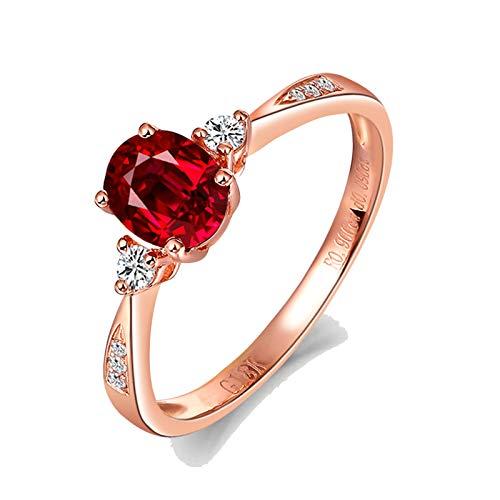 Bishilin Anillo de Compromiso Oro Rosa 750 Clásico Bandas de Boda Rojo Rubí Diamante Anillo de Compromiso Marrige Ajuste Cómodo Forma Ovalada Joyas Elegantes para Cumpleaños Navidad Rojo