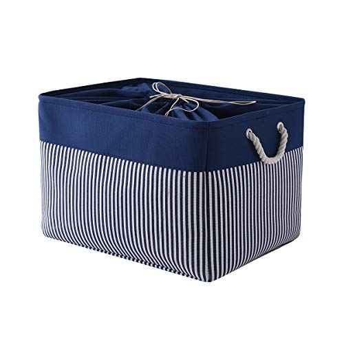 TcaFmac Fabric Storage Basket Large Canvas Storage Basket Dog Toy Basket Rectangle Storage Basket Clothes Basket with Lids Decorative Storage Basket for Shelves,Nursery 20(L) x 16(W) x 14(H) inch