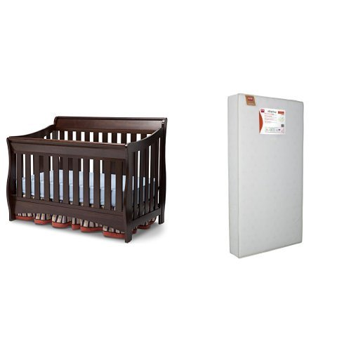 Fantastic Prices! Delta Children Bentley S Series 4-in-1 Crib and Simmons Kids Beauty Sleep and Toddler Mattress, Chocolate
