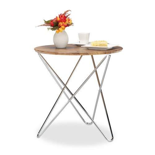 Relaxdays Ronde bijzettafel, salontafel van hout, vintage look, metalen onderstel, woonkamertafel klein, plat, HxBxD: 59 x 60 x 60 cm, naturel