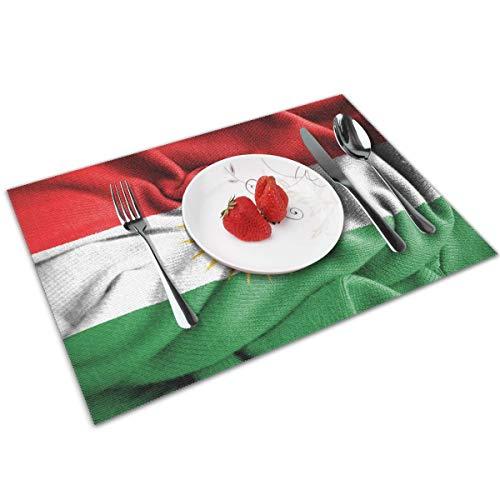 N/A KURDISTAN Koerden Koerdische Vlag Poster Plaats Matten PVC Placemats Wasbaar Bamboe Tafel Placemats Set van 4 Duurzaam voor keukentafel