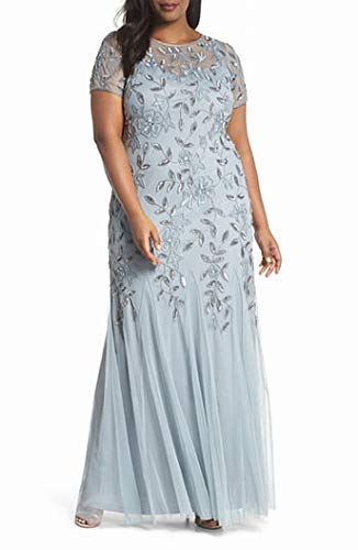 Adrianna Papell Women's Plus Size Floral Beaded Godet Long Dress, Blue Heather, 18W (Apparel)