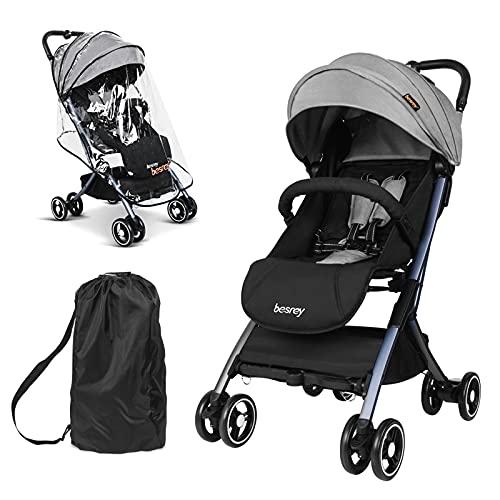 besrey Kinderwagen Belastbar bis 15 kg Klappbarer Buggy mit Rückenlehnenverstellung Ultra Leicht - Grau