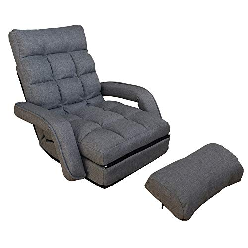 WAYTRIM Indoor Chaise Lounge Sofa, Folding Lazy Sofa Floor Chair 6-Position Folding Padded, Lounger Bed with Armrests and a Pillow Chaise Couch - Charcoal