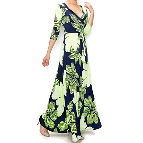 Janette Fashion Navy Lime Amaryllis Floral Faux Wrap Maxi Dress