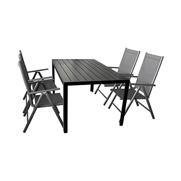 Multistore 2002 5-teilige Gartengarnitur Gartenmöbel Terrassenmöbel Set Sitzgruppe Aluminium Gartentisch Polywood…