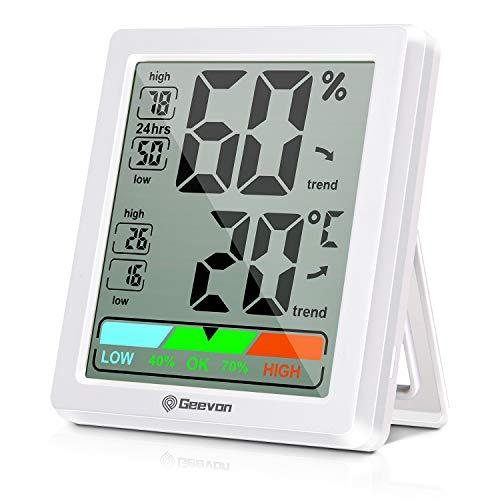 Geevon Raumthermometer, digitales Hygrometer für den Innenbereich, Feuchtigkeitsmesser mit Min- und Max-Aufzeichnungen, Komfortanzeige, LCD Temperatur-und Feuchtigkeitsmonitor für zu Hause