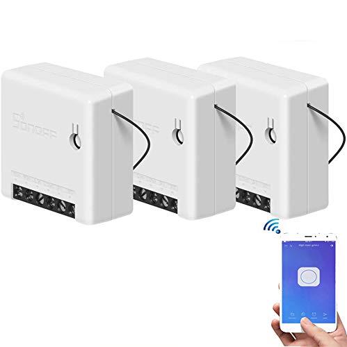 Konesky Mini Interruptor wifi, Inteligente interruptor de Dos Vías, Soporta Control Remoto de App, Control de Voz, 1.67 * 1.67 inch WiFi Switch Compatible con Alexa Google Home IFTTT