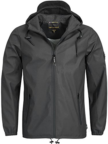 Indicode Herren Valentino Regenjacke mit Kapuze | windddichte & wasserdichte Jacke Funktionsjacke Windbreaker Herrenjacke Segeljacke Men Sailor Jacket Outdoorjacke für Männer Raven S