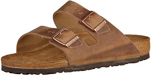 Birkenstock Classic Arizona Leder, Unisex-Erwachsene Pantoletten, Braun (Tabacco Brown), 43