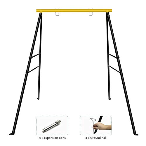 SURPCOS Swing Frame, New Upgraded A-Frame Swing Stand with Ground Nail, Heavy Duty Metal Swing Frame, Fits for Most Swings & Yoga Swing, Anti-Rust and Good Stability, 72' Height 36' Length