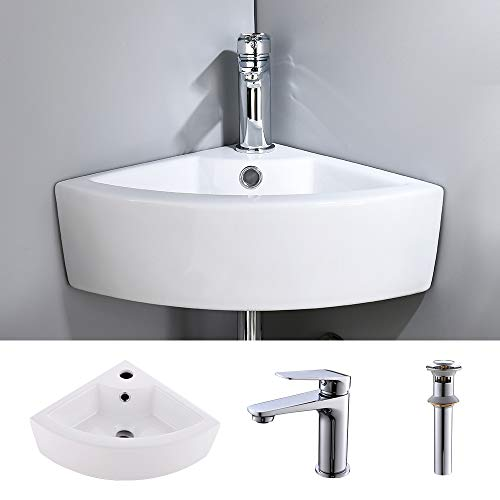 VOKIM Corner Wall Mount Vessel Sink and Faucet Combo White Porcelain Ceramic Above Counter Mini Vanity Sink with Chrome Faucet and Pop-up Drain with Overflow