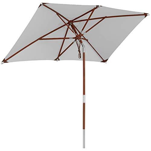 anndora Sonnenschirm 250x150cm Holz Streben mit Dreh-Kipp-Mechanismus 2,5x1,5m eckig Hellgrau