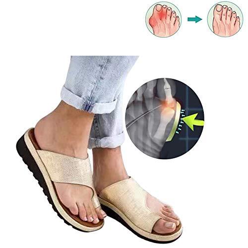 WJZ Sandalias De Plataforma Mujeres Zapatos De PU Zapatillas Ortopédicas Juanete Corrector Cómodo Cuña Señoras Casual Toe Sandalia De Corrección(Size:39EU,Color:Oro)