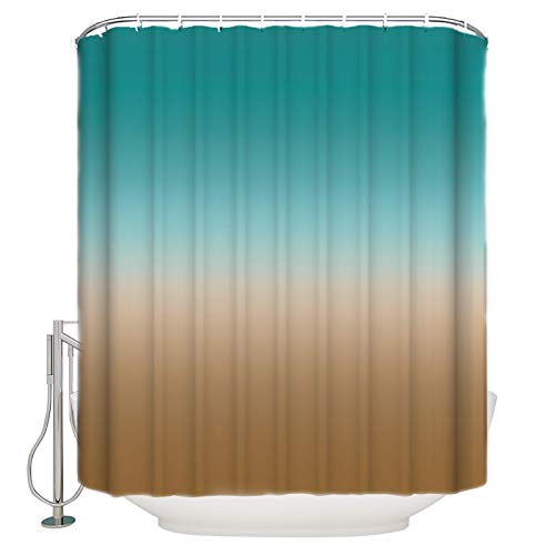 PartyShow Polyester Shower Curtain Ombre Brown Turquoise Cyan Gradient Popular Bath Curtain for Bathroom, Baby Room, Living Room, Bedroom, Study Room, Kitchen Set with Hook Extra Long 72 x 84 Inch