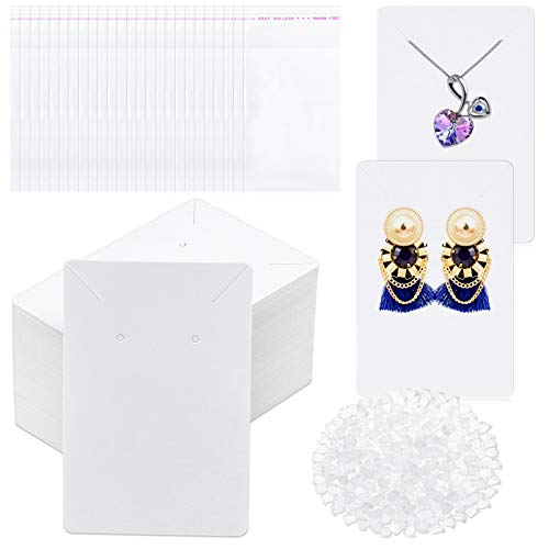 White Earring Cards, Anezus 400 Pcs Earring Packaging Supplies Kit with Earring Display Holder Cards Self-Sealing Bags Earring Backs, Cardboard Paper Necklace Cards for Jewelry Display