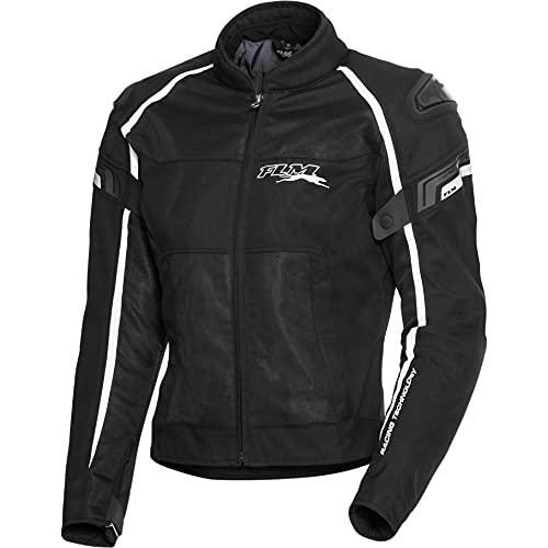 FLM Motorradjacke mit Protektoren Motorrad Jacke Sports Textil Jacke 1.2 schwarz/weiß 5XL, Herren, Sportler, Ganzjährig