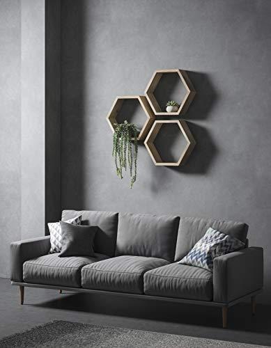 Duck Woodworks Estantes hexagonales, estante hexagonal, estante geométrico, estantes flotantes, hexágono, estante de panal, estante de pared, estante de roble, estante de madera, estantes de roble