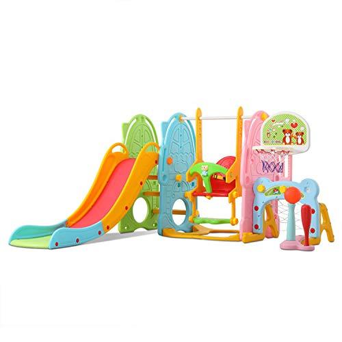 UNICOO - Toddler Slide and Swing Set, 8 in 1 Kids Indoor and Outdoor Playground Combination Climber/ Slide/ Swing/ Basketball Hoop/ Soccer Goals/ Baseball Rack/Kids Desk W/ Music, for Boys & Girls