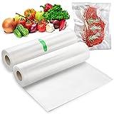 WOCVRYY Bolsas de Vacío 2 Rollos 20 X 500 cm, Utilizado para el Ahorro de Alimentos, Sellado Fuerte, BPA Free, Bolsas de Vacío para Alimentos Aptos para Todas las envasadoras al vacío.