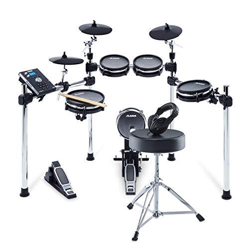 Pack Command Mesh Kit d'Alesis Drums – Ensemble de batterie électronique 8 pièces en peau maillée et Drum Kit comprenant siège, casque et baguettes