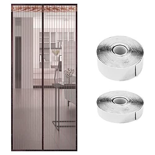 Yngffb Cortina Mosquitera Magnética, mosquiteras magneticas, Puerta mosquitera magnética, Hecho de poliéster, con accesorios montaje, cierre automático, para puertas, puertas balcón (1 rollo, marrón)
