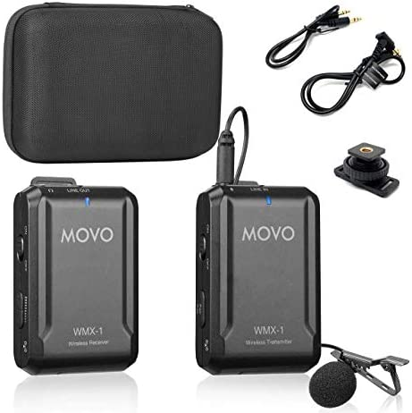 Movo WMX 1 2 4GHz Wireless Lavalier Microphone System Compatible with DSLR Cameras Camcorders product image
