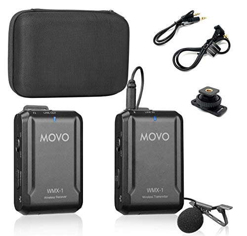 Movo WMX-1 Micros-cravate universels 2,4 GHz, système de micro-boutonnière sans fil, compatible...