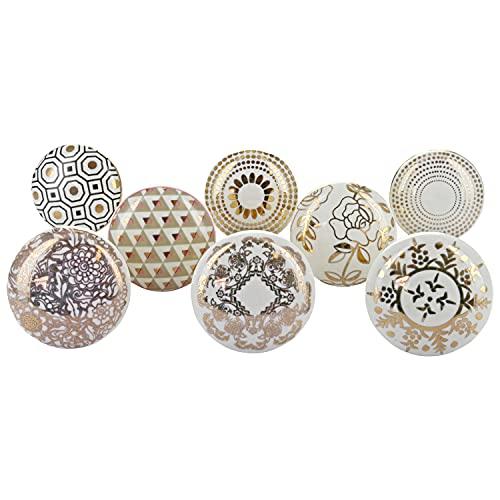 G Decor Royal Gold Türknäufe aus Keramik, Vintage, Shabby Chic, Griffe für Schränke oder Schubladen (8er-Pack)