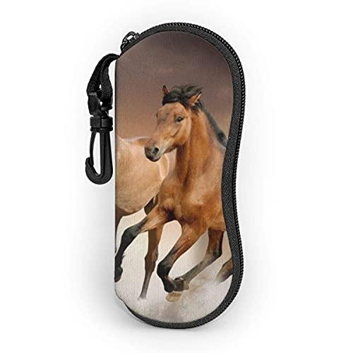 Fundas de Gafas Running Horse gafas para mujeres y hombres, Estuche blando para gafas de sol portátil con mosquetón