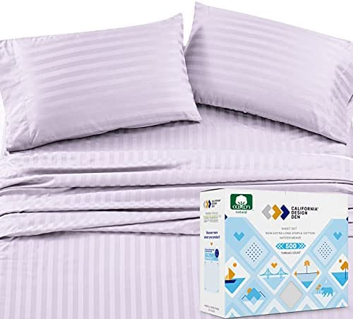 Pure Cotton Queen Sheet Set – Lavender 500 Thread Count 4 Piece Set, Elegant Damask Striped Sateen Sheets, Elasticized Deep Pocket Fits Low Profile Foam and Tall Mattresses