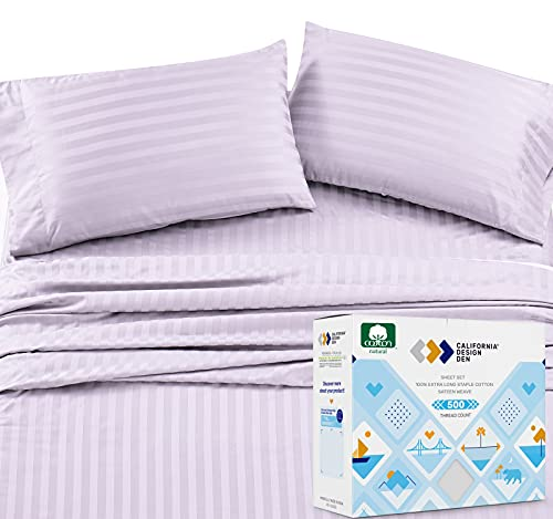 500-Thread-Count Full Size Bed Sheets - Lavender Striped 4 Piece Bed Set, Natural Cotton Damask Sateen Sheets, Elasticized Deep Pocket Fits Low Profile Foam and Tall Mattresses