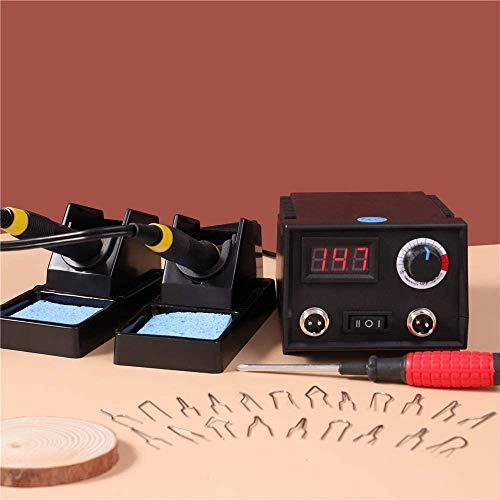 HUKOER Pirografo per Legno 31 Pezzi Kit,60W Portatile Saldatore a Stagno con Display LCD, Temperatura Regolabile 0°C〜800°C, Professionale per Pirografia, Saldatura, Tagliare(Nero 2)