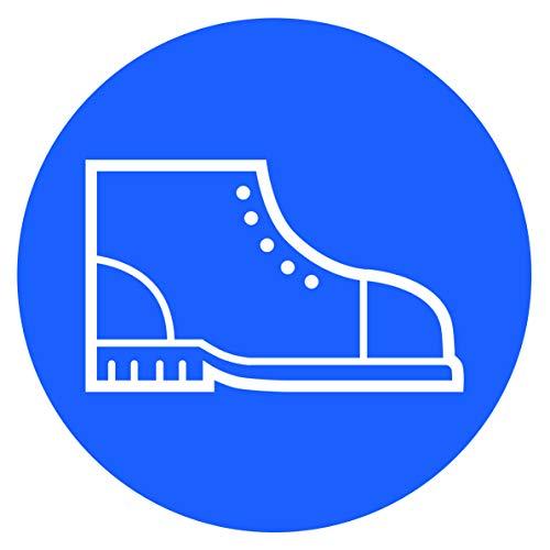 10 Stück Sicherheitsschuhe Aufkleber Ø 9,5cm Sticker Gebotszeichen Arbeitsschuhe Feste Schuhe mit UV Schutz für Außenbereich Innenbereich festes Schuhwerk Sicherheit von STROBO